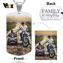 Vnox Colored Picture Image Personalize Dog Tag for Men Women Necklaces Stainless Steel Pendant Casual Birthday BFF Family Gift(China)