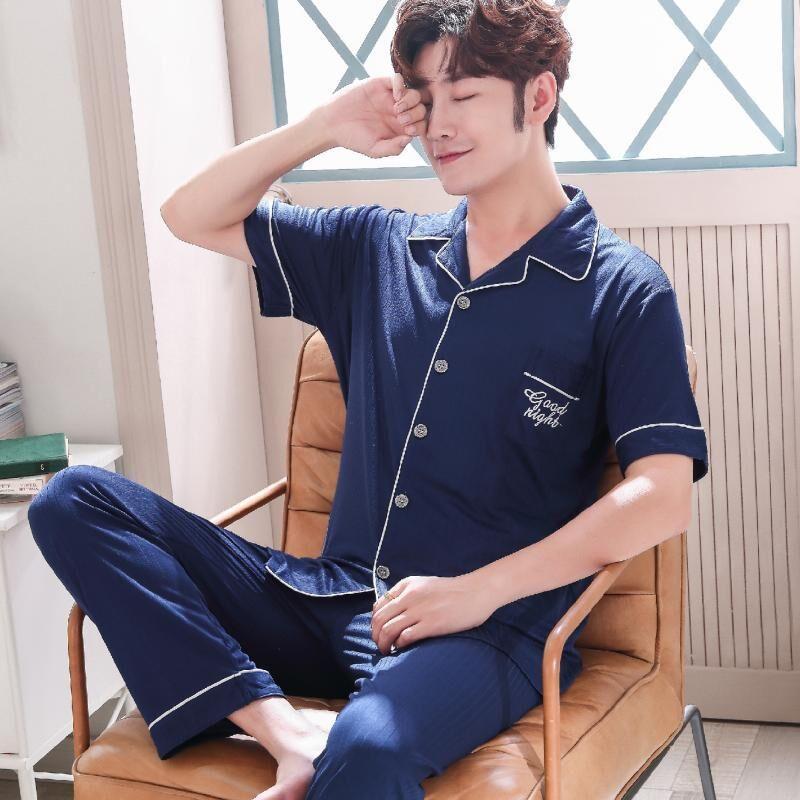 Men's Pajamas Set Summer Short-sleeve Cotton Nightwear Solid Home Wear Suits Simple Fashion Sleepwear For Men Big Size 3XL
