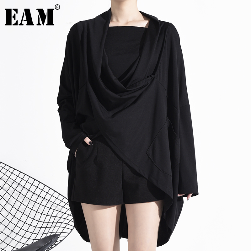 [EAM] Women Black Asymmetrical Split Big Size T-shirt New Round Neck Long Sleeve  Fashion Tide  Spring Autumn 2020 1N89501