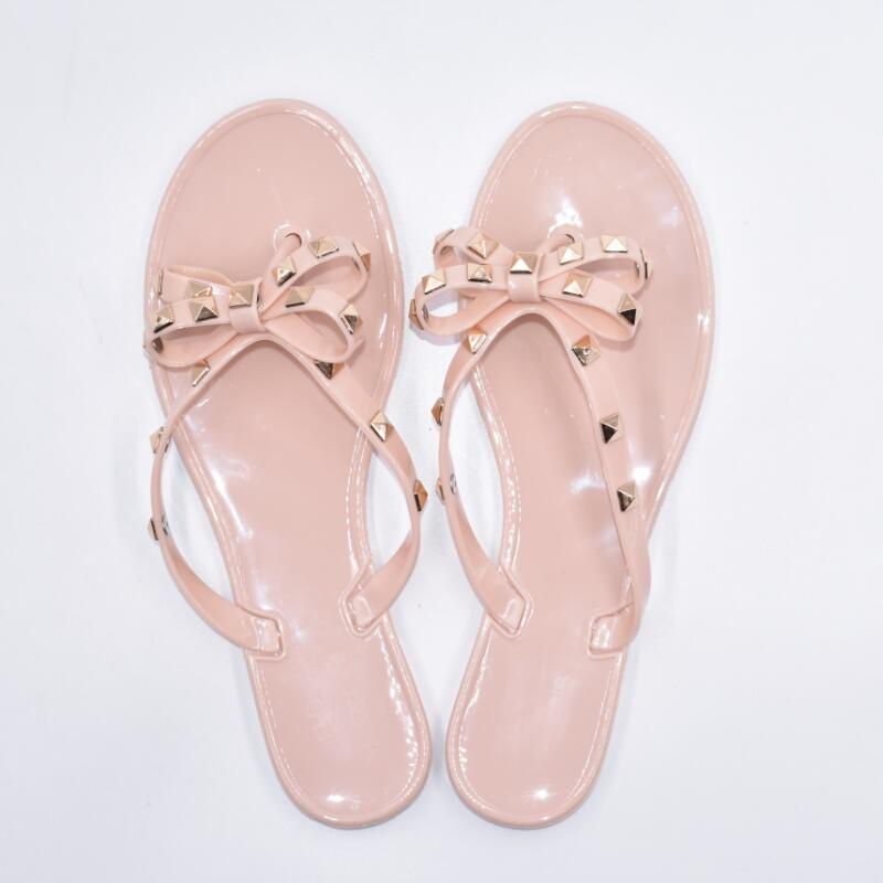Hd013df1f3f374c7bbbe94a0f2dcd184dF - Hot Fashion Woman Flip Flops Summer Shoes Cool Beach Rivets big bow flat sandals Brand jelly shoes sandals girls size 36-41