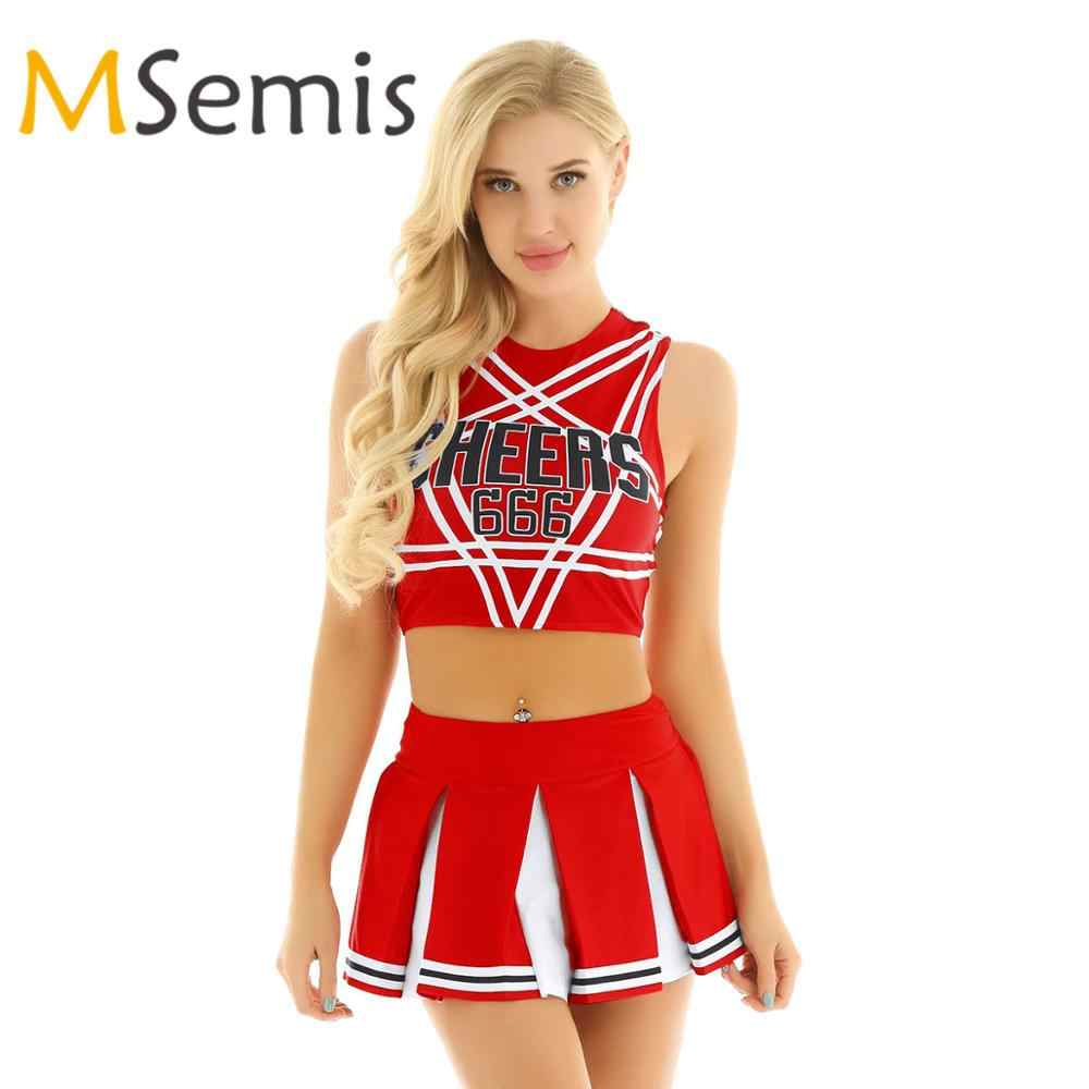 Frauen Cheerleader Cosplay Kostüm Set Pentagramm Back Crop Top mit Mini Plissee Rock Charming Rolle Spielen Cheerleading Uniform