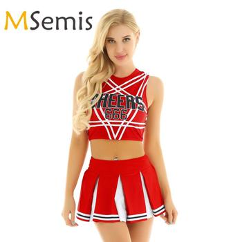 Women's Cheerleader Cosplay Costume Set Pentagram Back Crop Top with Mini Pleated Skirt Charming Role Play Cheerleading Uniform - discount item  40% OFF Team Sports