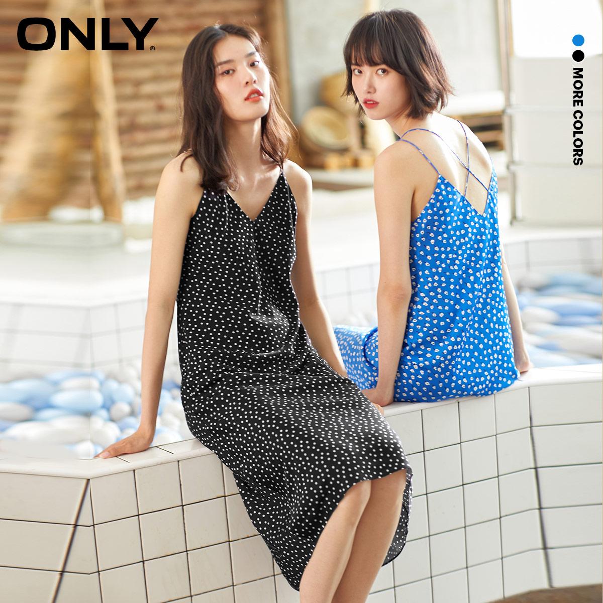 ONLY 2020 summer new sling polka-dot V-neck light mature long chiffon dress female | 120207119