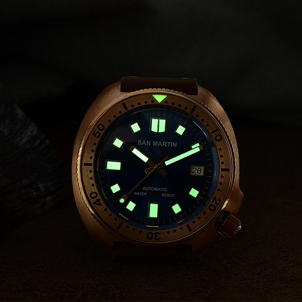 San Martin New Bronze Tuna 6105 diving watches 200m Water Resistant Shark leather strap men automatic wrist watches for male Men - 3