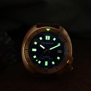 Image 3 - San Martin New Bronze Tuna 6105 diving watches 200m Water Resistant Shark leather strap men automatic wrist watches for male Men