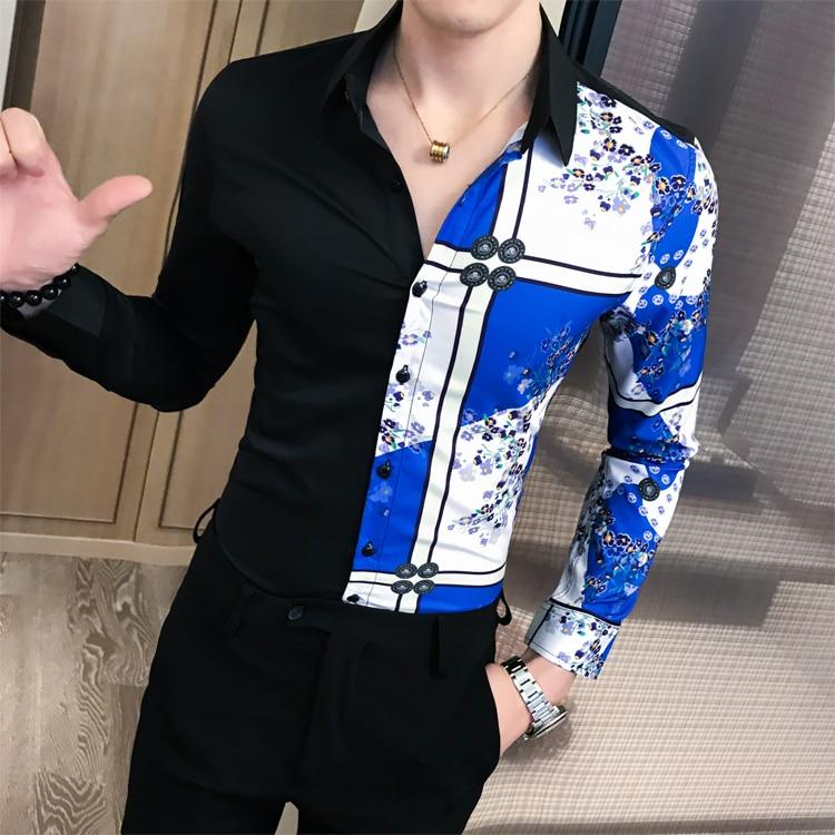 Luxury Black Gold Shirt 2019 Autumn Baroque Men Shirt Long Sleeve Patchwork  Casual Shirt Men Slim Fit Print Party Club Shirt 6