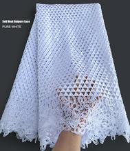 Tissu africain en dentelle Guipure de haute qualité pour femme, cordon de Couple noir uni, blanc pur, doux, pour robe