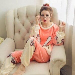 Image 4 - 秋の冬の女性のパジャマセット暖かいフランネル長袖のスパースター動物プリントホームウェア厚いパジャマプラスサイズ M 2XL パジャマ