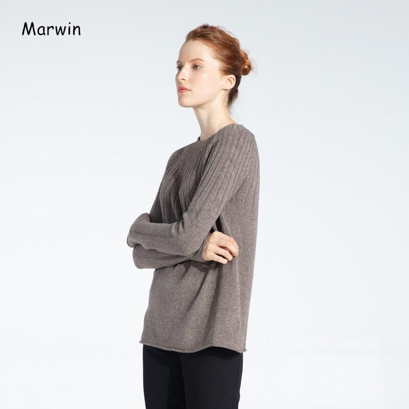 Marwin 2019 Новое поступление Твердые o-образным вырезом с рюшами толстые женские свитера высокий уличный стиль мягкие теплые женские вязаные пу...