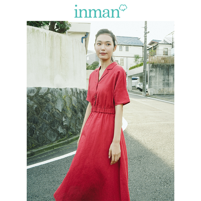INMAN  Clear Linen Solid Turn Down Collar Defined Waist A-line Loose Literary Casual Women Dress