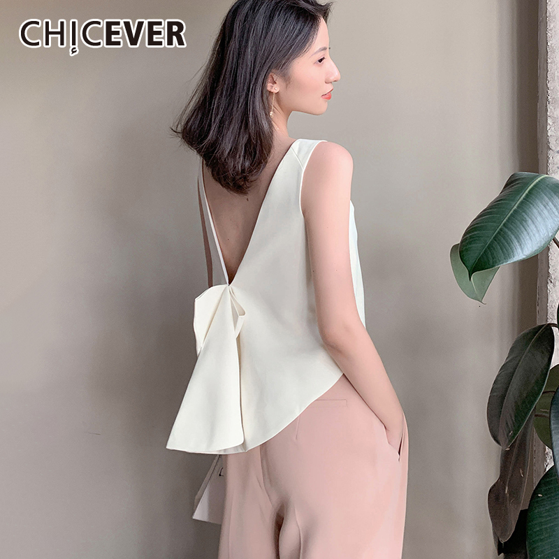 CHICEVER Korean Lace Up Bowknot Women's Vest O Neck Tank Sleeveless Backless Large Size Loose Female Vests 2020 Fashion New