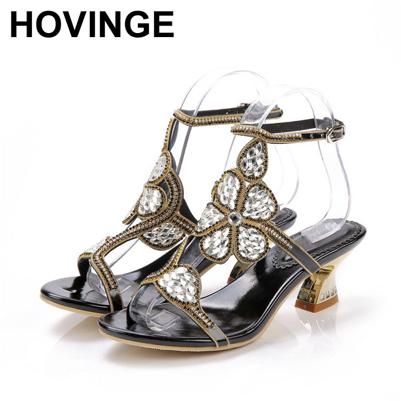 HOVINGE Dress-Shoes Wedding-Sandals Chunky-Heel Summer Slingback Party 2-Inches