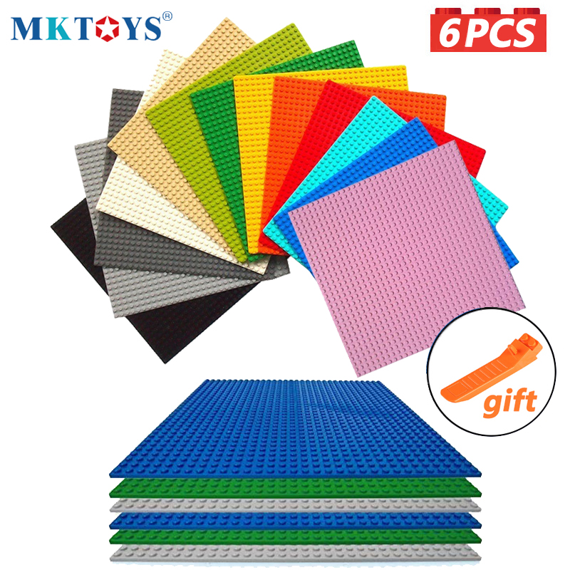 MKTOYS 32x32 Base Plates 6PCS Set Classic Brick Baseplate 10x10inch 25x25cm Compatible with All Major Brand Building Block Plate