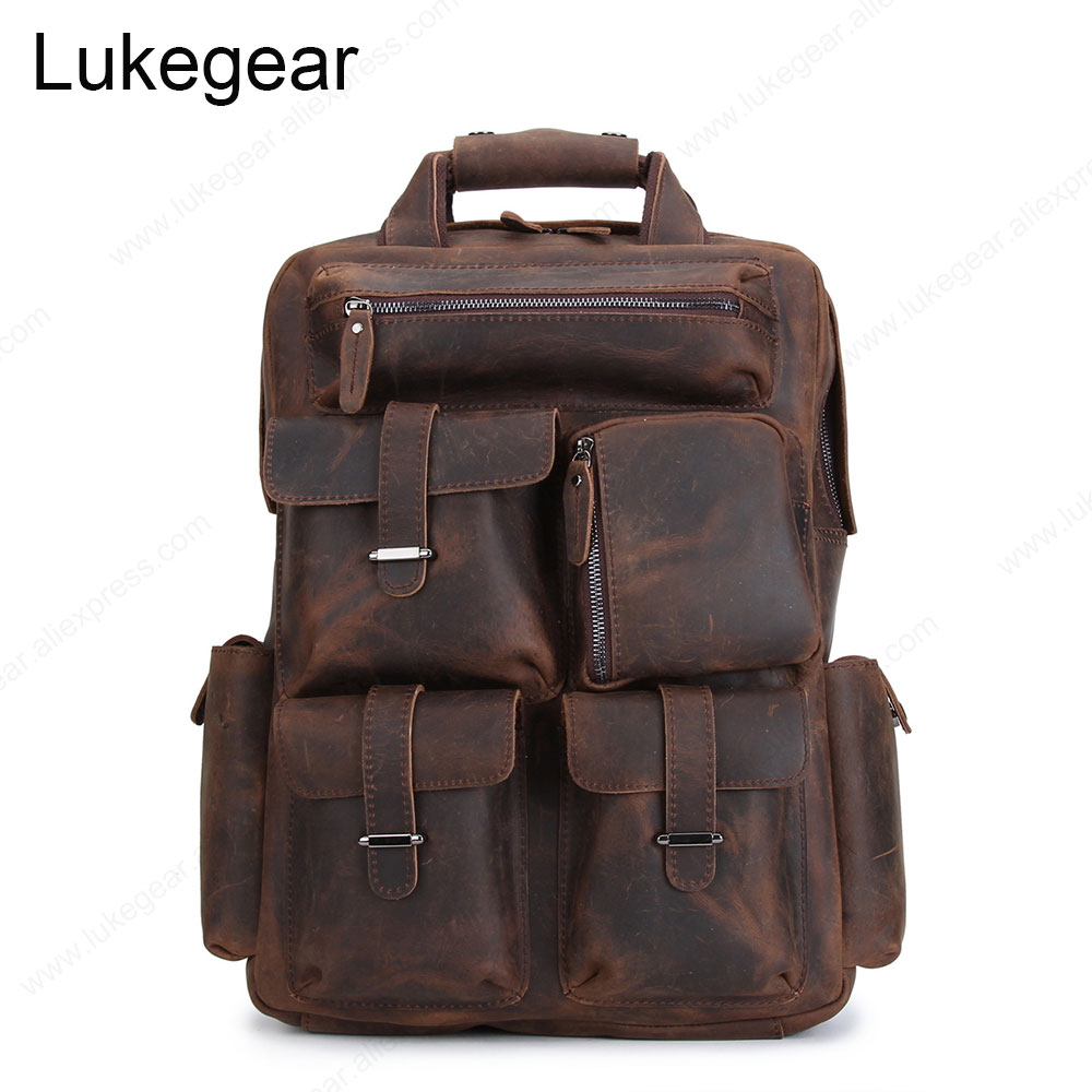 Outdoor Handmade Backpack Genuine Leather Backbags Cow Leather Bags Handcraft Big Capacity Vintage Style