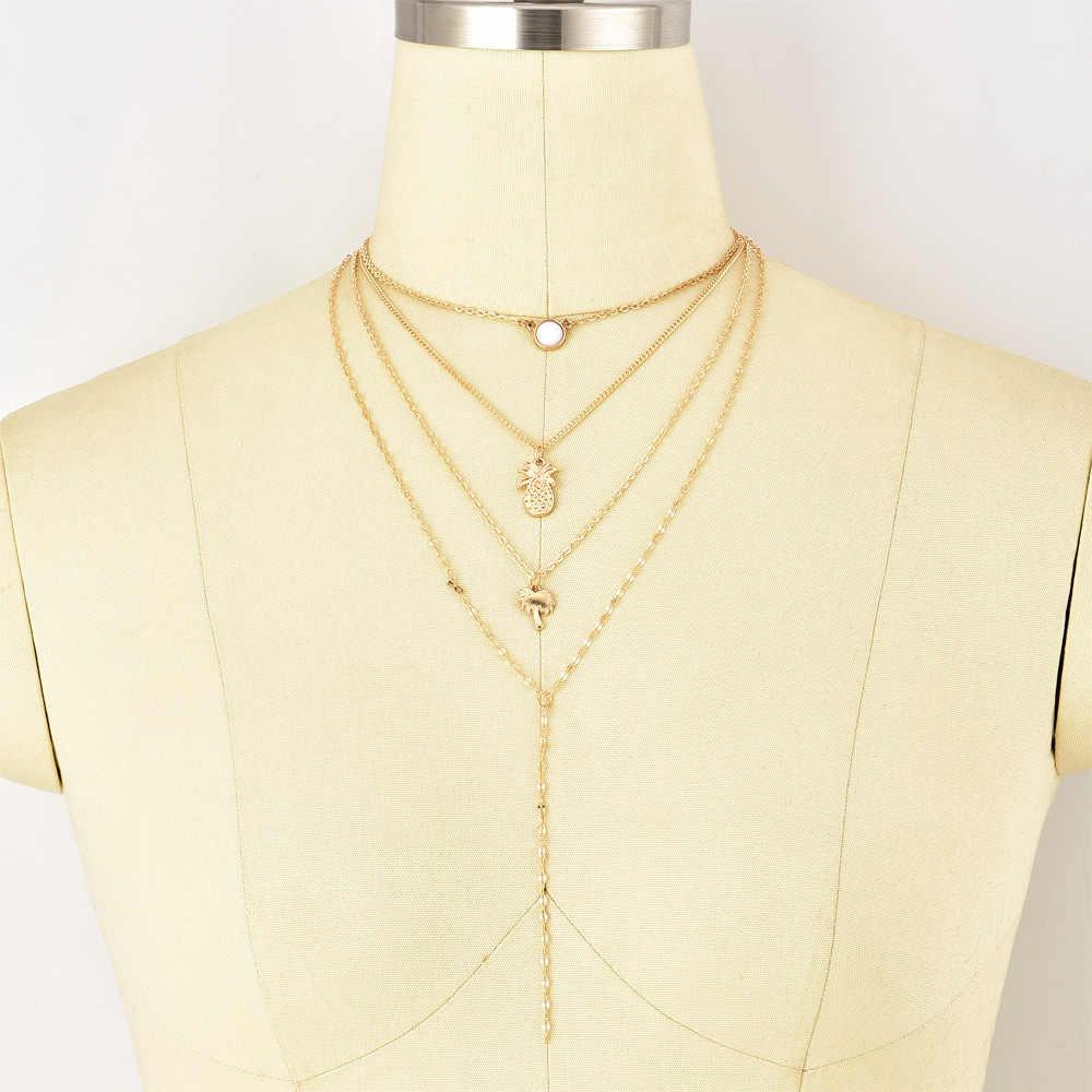Oświadczenie naszyjnik biżuteria ananas kokosowe wisiorek wielu warstwy czeski naszyjnik kobiety biżuteria złoty naszyjnik hurtownie