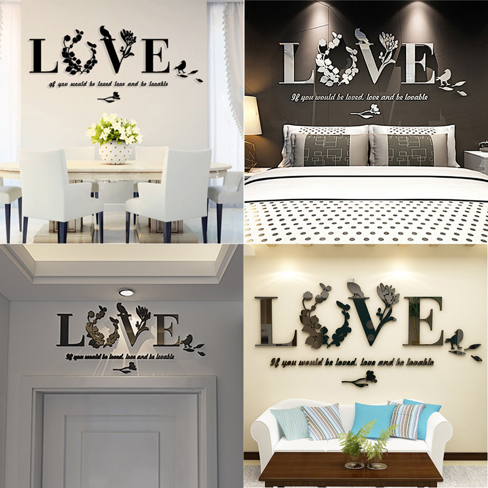 Removable 3D Mirror Leaf LOVE Wall Sticker Art Vinyl Decals Bedroom Home Decor