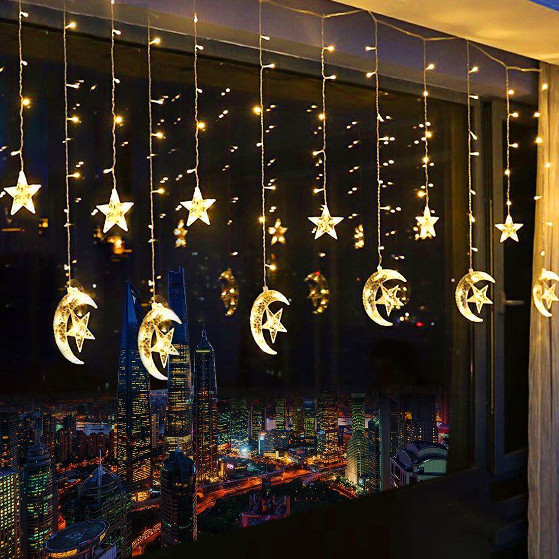 2.5M 110V/220V LED Moon Star Curtain Light Lamp Christmas Icicle String Lights For Ramadan Wedding Party Decoration Garland