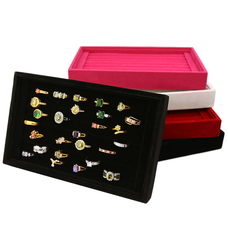 Velvet Jewelry Rings Earring Insert Display Bracelet Jewelry Display Stand Tray Organizer Box Wooden Flat Stackable Tray Holder