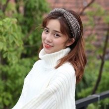 Fashion Rhinestone Elastic Wool Headband Gifts Knotted Wide Hair Band Autumn Winter Solid Knitted Warm Headwear Women Girls(China)