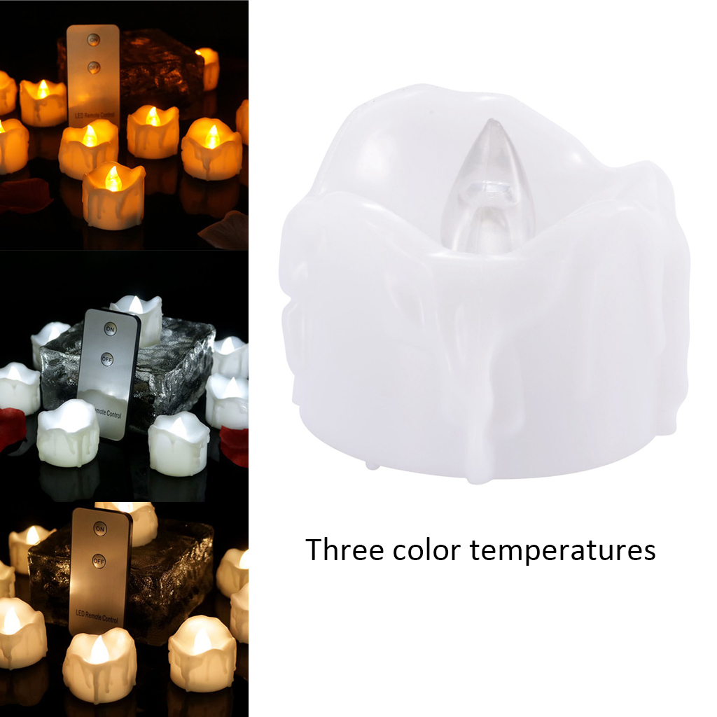 24pcs Colored Flameless LED Tea Light Candles Wedding Decor Battery Operated