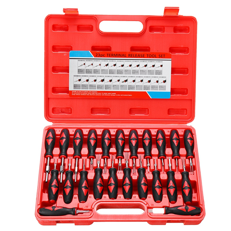 23PCS Universal Terminal Release Tools Set Harness Connector Remover Tool Package Hand Tool Kit With Plastic Toolbox Storage