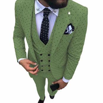 Oryginalny Poika dot garnitur 3-sztuk najnowszy garnitur fasony spodni wycięcie klapy moda smokingi na imprezę pana młodego garnitury męskie na ślub tanie i dobre opinie skinny Na co dzień 8965 REGULAR Poliester Rayon Mieszkanie Pojedyncze piersi Zipper fly