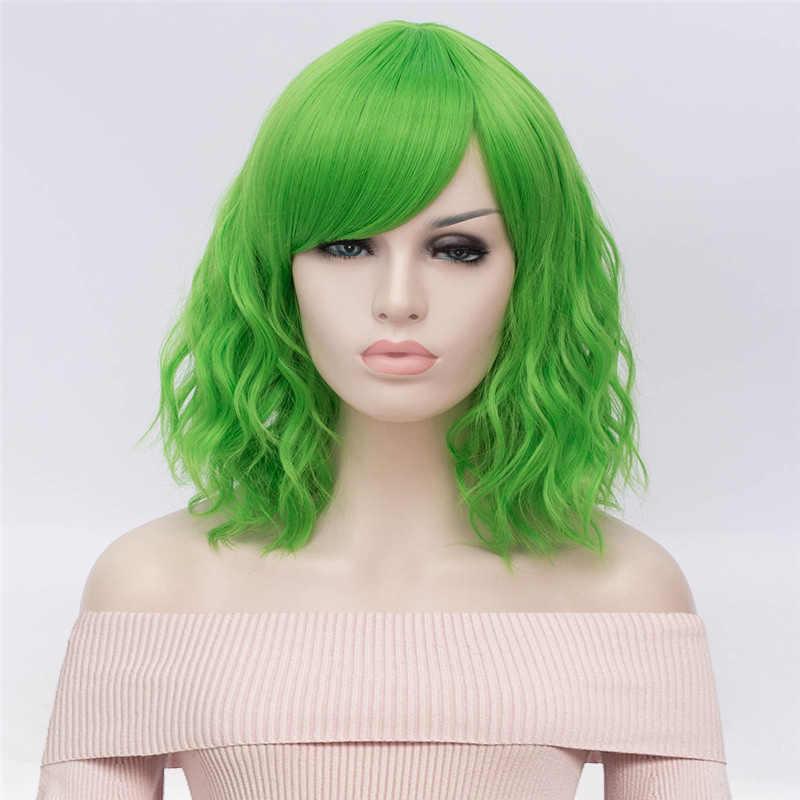 MSIWIGS kısa Cosplay doğal dalga peruk kadınlar için kırmızı peruk yan patlama ile yeşil sentetik saç peruk isıya dayanıklı