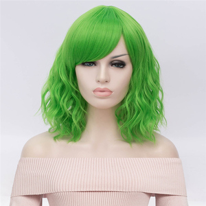 Image 5 - Perruque synthétique ondulée verte Cosplay avec frange latérale