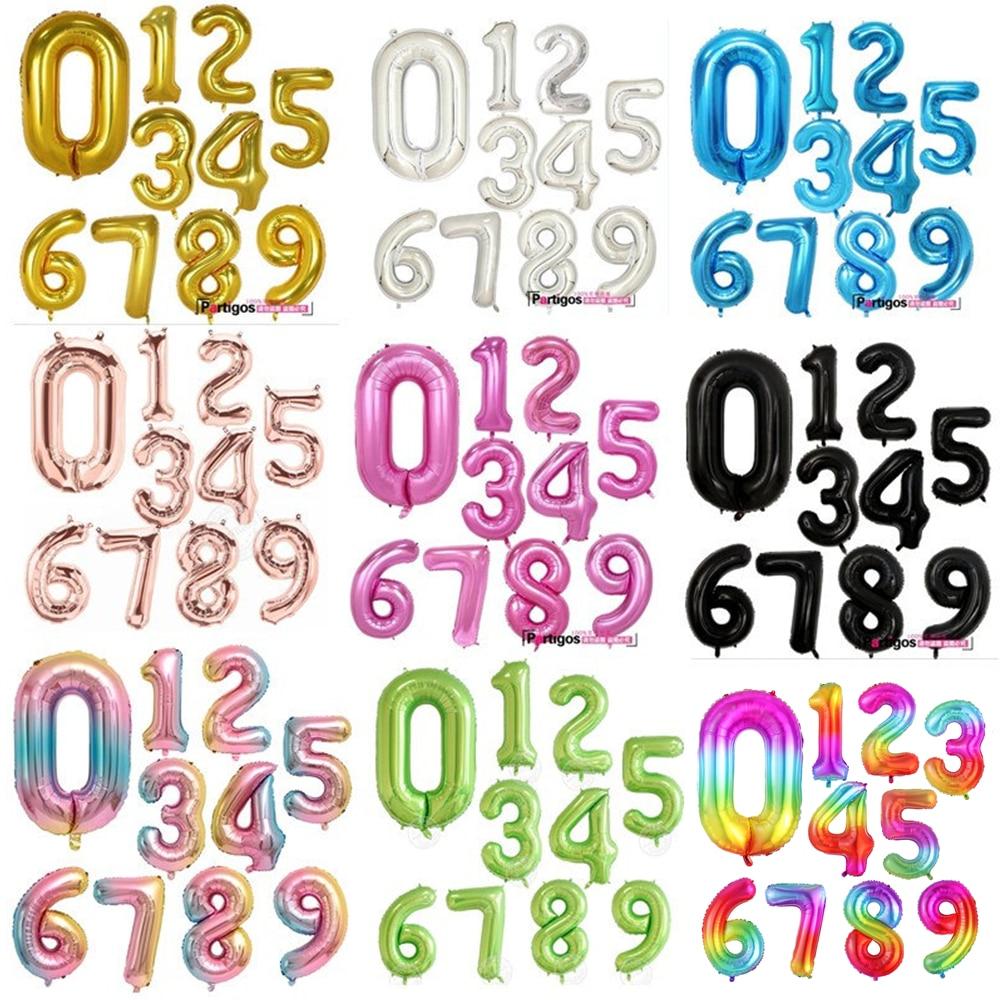 30/40 дюймов, розовый, золотистый, серебристый воздушные шары из фольги в виде цифр, украшение для дня рождения, воздушные гелиевые Number Globos Kid в...