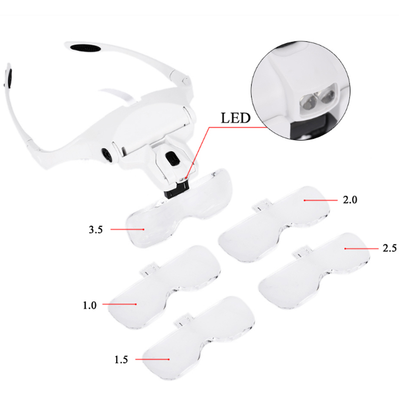 1pcs Microblading Headband Magnifying Glasses LED Light And 5 set lenses For Microblading Supplies eyebrow tattoo supply