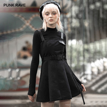 PUNK RAVE Girls Gothic Heart Embroidered Appliques  Suspender Dresses with Belt Personality Casual Black Dress