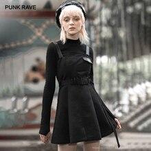 PUNK RAVE kız gotik kalp işlemeli aplikler askı elbiseler ile kemer kişilik Casual siyah elbise