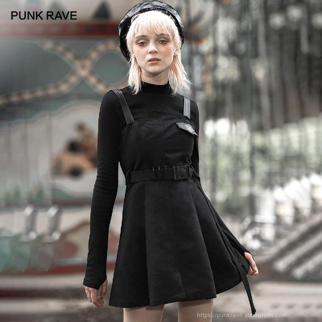 Punk Rave Meisje Gothic Hart Geborduurde Applicaties Jarretel Jurken Met Riem Persoonlijkheid Toevallige Zwarte Jurk