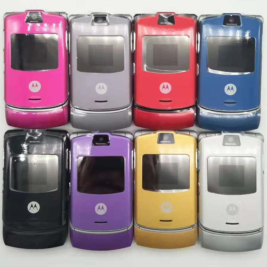 100% Original V3 World Version Flip GSM Quad Band Motorola Razr V3 mobile phone one year warranty Free shipping image