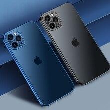 Vuông Sang Trọng Mạ Trong Suốt Ốp Lưng Điện Thoại iPhone 11 12 Max Pro Mini X Xs XR 7 8 Plus SE 2 Silicone Chống Sốc Bìa Mềm
