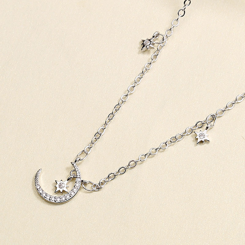 New Creative 925 Sterling Silver Jewelry AAA Zircon Moon Star Pendants Neckaces For Women Simple Box Chain choker collares Top
