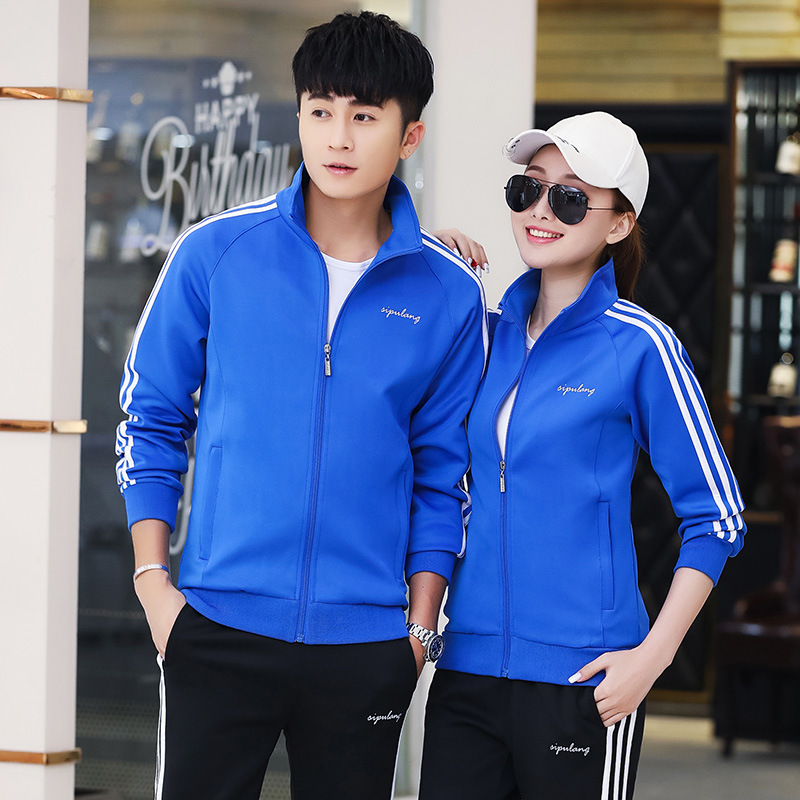 Couples Sports Set Men's 2018 Spring And Autumn Case Long-sleeve Sportswear Women's Running Two Case High School Xue Xiao Fu