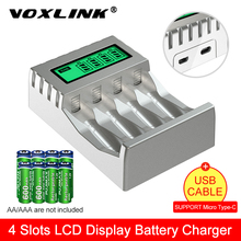 VOXLINK LCD Display Smart Intelligent Battery Charger With 4 Slots  For AA/AAA NiCd NiMh Rechargeable Batteries aa aaa Charger цена 2017