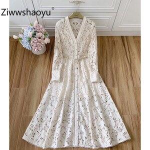 Ziwwshaoyu-Элегантные Дизайнерские летние платья с вырезами и вышивкой, с рукавами-фонариками, с V-образным вырезом, сексуальные платья макси для...