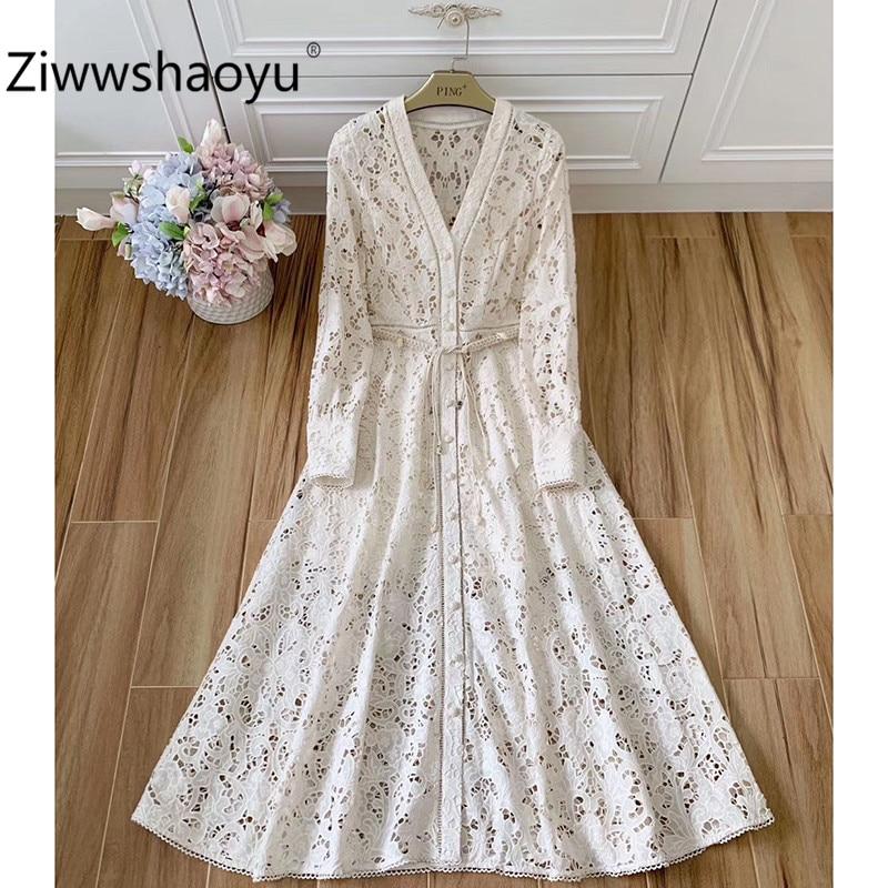 Ziwwshaoyu Designer Brand Summer Elegant Hollow Out Embroidery Lantern Sleeve V-Neck Sexy Party Maxi Dresses Women's Clothing