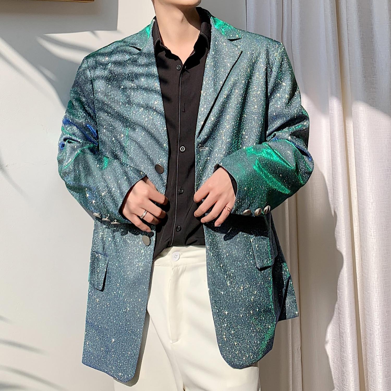 Blazer Hombre Casual Blazer Jacket Overcoat Male Vintage Fashion Suit Coat Outerwear Stage Show Clothes Men Blue-green Shining