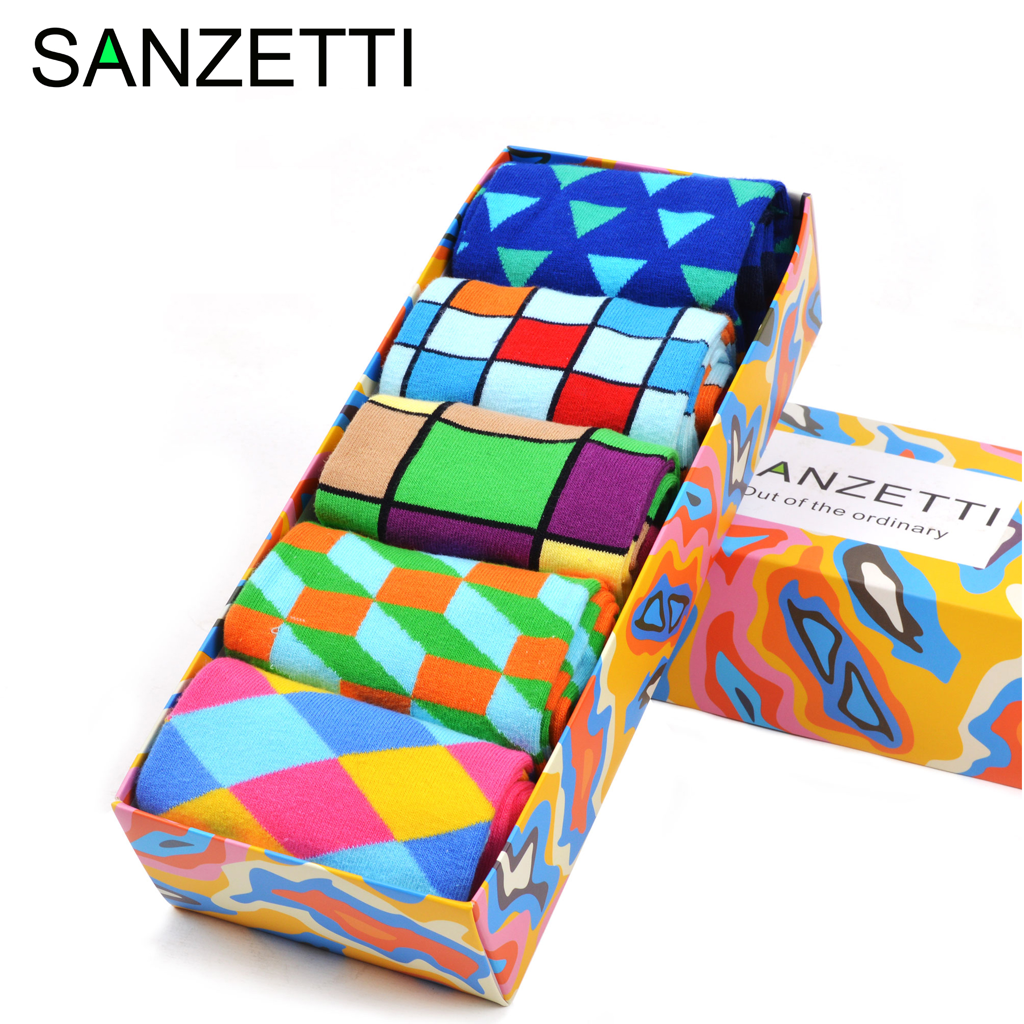 SANZETTI Colorful Bright Men's Combed Cotton Socks Novelty Cool Diamond Geometry Hip Hop 5 Pairs/Lot Happy Funny Socks For Gifts