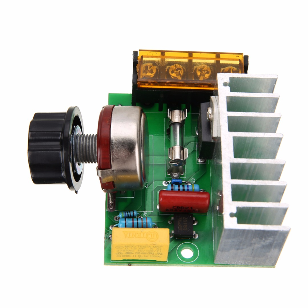 1pc Motor Speed Controller 0-220VAC Adjustable Thyristor Voltage Regulator 4000W