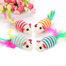 Interactivetoys for Cats Pet Sisal False Mouse Mice Scratching Playing Toy with Colorful Feather Mini Mouse Cat Toy Pet Products red legged mouse pet cat toy multicolored