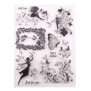 Clear Stamps for DIY Scrapbooking Card Fairy butterfly Transparent Rubber Stamps Making Photo Album Crafts Silicon Decor Stamp new scrapbook diy photo album cards butterfly style transparent acrylic silicone rubber clear stamps sheet handmade craft decor