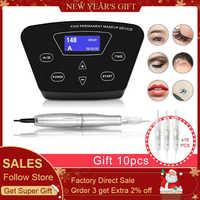Bioaser máquina de tatuaje rotatorio profesional completo para maquillaje para cejas permanente labios Microblading DIY Kit con aguja de tatuaje