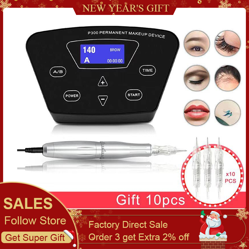 Biomaser Full Professional Rotary Tattoo Machine Pen For Permanent Makeup Eyebrows Lips Microblading DIY Kit With Tattoo Needle