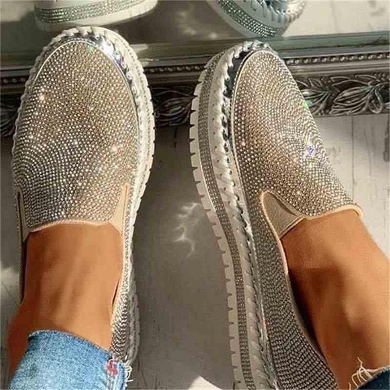 Kadınlar düz Glitter Sneakers Casual kadın örgü dantel Up Bling platformu rahat artı boyutu vulkanize ayakkabı Zapatillas Mujer