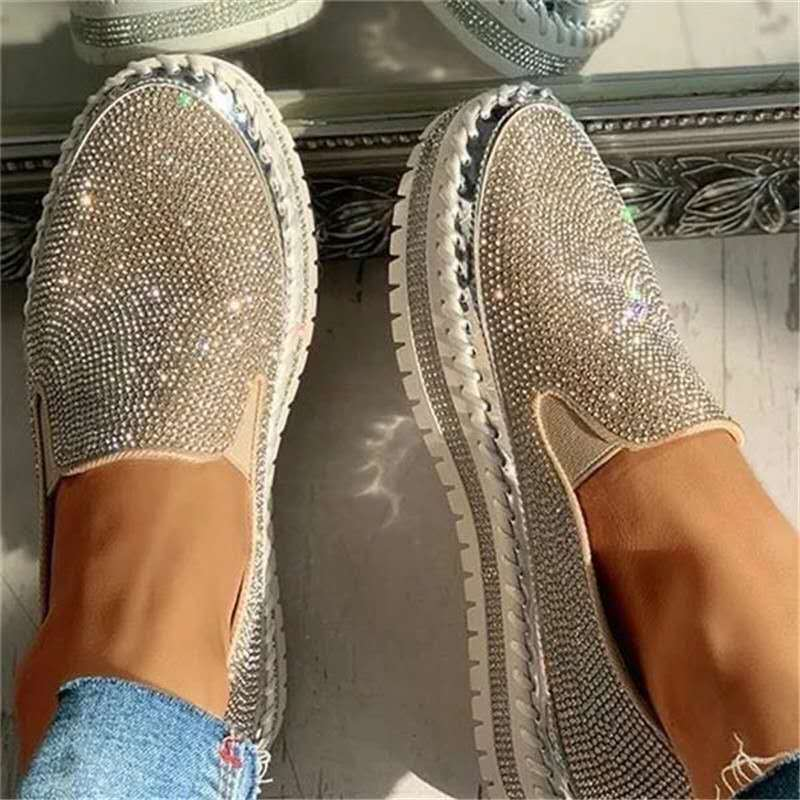 Women Flat Glitter Sneakers Casual Female Mesh Lace Up Bling Platform Comfortable Plus Size Vulcanized Shoes Zapatillas Mujer