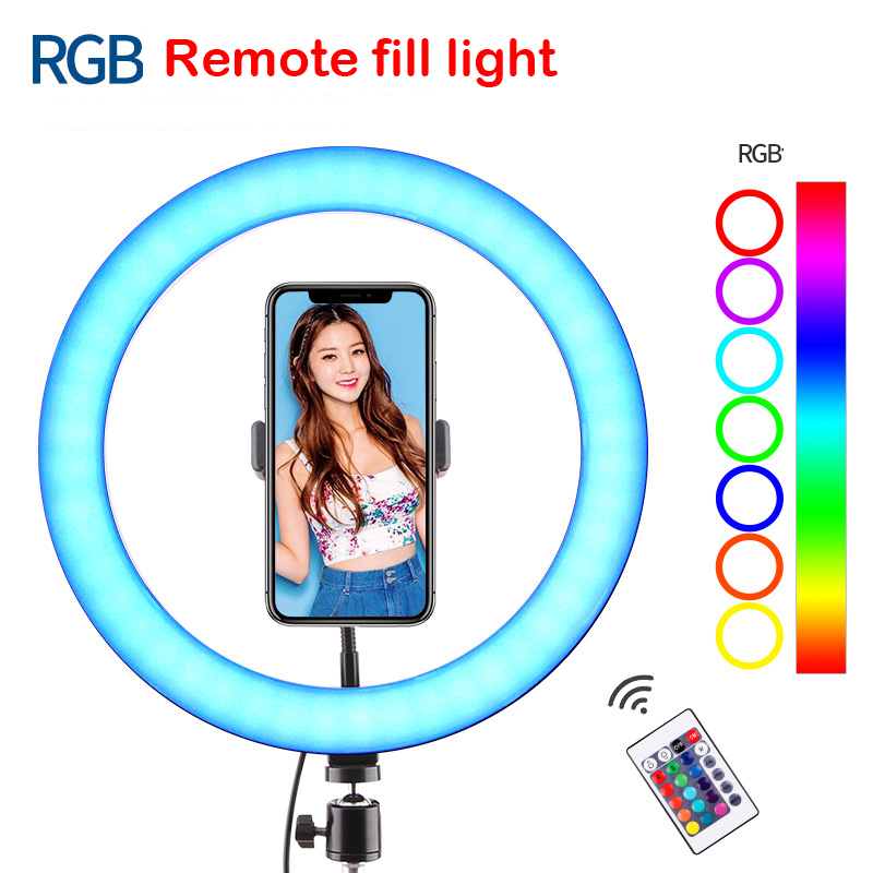10 Inch Ring Light Tripod Stand Phone Holder Dimmable RGB LED Selfie Ring Lights Remote for Photos YouTube Videos Photography